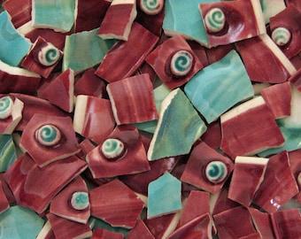 Mosaic Pottery Tiles Hand Cut 3D Burgundy Wine Aqua Swirls Made by Potter Unique Tiles