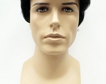 Short Black Men's Wig. Men's Side Part Wig. Synthetic Fashion Wig. [89-452A-Don-1B]