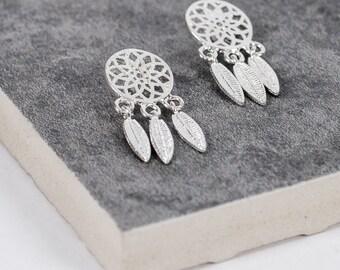 Sterling Silver Dream Catcher Stud Earrings