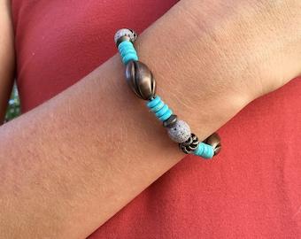 Antique Bronze ,Turquoise Stretch bracelet