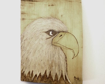 Eagle Wall Hanging Pyrography Log Wedge