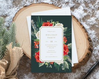 Editable Template - Instant Download Floral Festivities Holiday Party Invitation