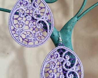 3 inch dangle embroidered earings. These are so elegant and light weight. They can be created in any color.