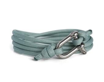 Shackle Bracelet, Grey & Silver, Sailing Rope Bracelet, Mens Bracelet, Nautical Jewellery.