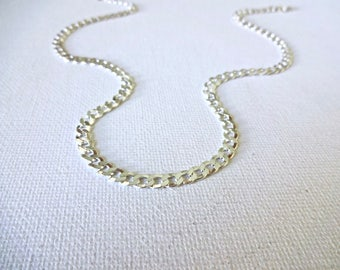 Handmade 925 Sterling Silver Heavy Curb Chain Necklace; Simple Statement Necklace; Silver Heavy Chain Necklace; Layering Sterling Necklace