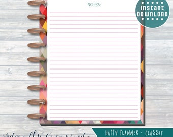 HAPPY PLANNER PRINTABLE Notes Planner Pages / Inserts - 7 x 9.25 | Geo Brights | Create 365 | Me & My Big Ideas | mambi | Notes Page