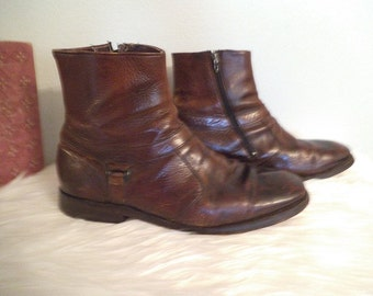 Vintage Rustic Brown Leather Men's ankle boots ~ Imperial Biltrite ~ Size 9 1/2 EE ~ Harness Motorcycle Grunge