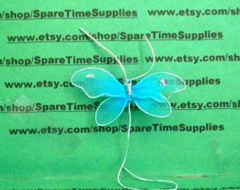 "Nylon Butterfly - 2 1/4"" - blue - 2 pcs - Fibre Craft - #7988BL"