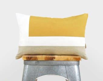 Farbe Block Kissenbezug in Senf-gelb, weiß und Natur   12 x 18 geometrische Kissen   Moderne und minimalistische Wohnkultur