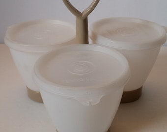 Tupperware Condiment Caddy with Bowls and Lids.