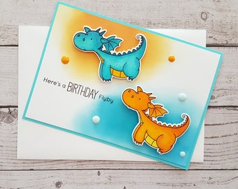 "Sweet 3-D birthday Card ""dragon"" Here's a birthday Flyby handmade with envelope/envelop A6"