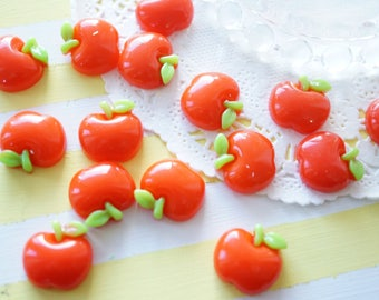 8 pcs Puffy Apple Cabochon (17mm20mm) Red FR084