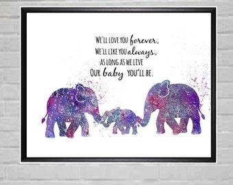 Elephant Printable Decor Elephant Nursery Decor Purple Nursery Printable Elephant wall Art - Digital File Only