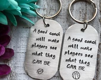 Coach gift--football--basketball--volleyball--soccer--baseball--softball--thank you gift--christmas--birthday--silver keychain--dog tag