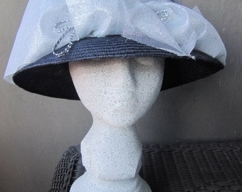 Silver & Navy Lady's Hat, Haute Couture Hat, Church Hat, Derby Hat, Tea Party Hat, Parasisal Straw Weave, Hand made, Beautiful Hat, Glitter