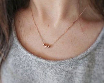 Rose gold beads necklace. Dainty rose gold necklace. Minimalist rose gold filled necklace. Modern Three Tiny beads necklace. pease