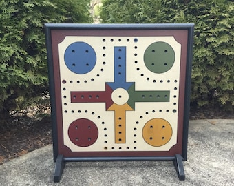 "19"", Aggravation, Game Board, Wood, Hand Painted, Wooden, Primitive, Folk Art, Hand Painted"