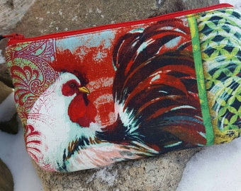 Rooster  Cosmetic Bag, Chicken Zipper Bag, Chicken Makeup bag, Chicken Gift, Rooster Gift
