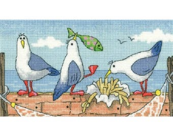 Fish n Chips Cross Stitch Kit from Heritage Crafts- By the Sea range , Counted Cross Stitch, Cross stitch kit, 14 ct aida, beach scene, gull