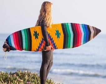 Surfboard Bag: Upcycled Mexican Blanket Yellow Diamond Striped SURFBOARD SOCK