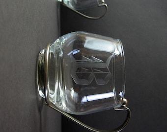 Set of 4 Vintage Glass Cups - Metal Handle - B Monogram Punch Glasses - 8 oz Coffee Mugs - Mid Century Modern Party Decor - Glass Barware