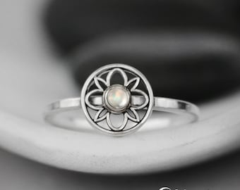 Rainbow Moonstone Pinky Ring - Sterling Silver Art Deco Promise Ring - Unique Promise Ring - Geometric Moonstone Ring- June Birthstone Ring