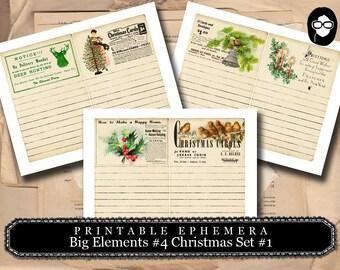Digital Journal Card - Big Elements #4 Christmas # 1 - 3 Page Instant Download - clip art christmas, art journal card, ephemera paper pack