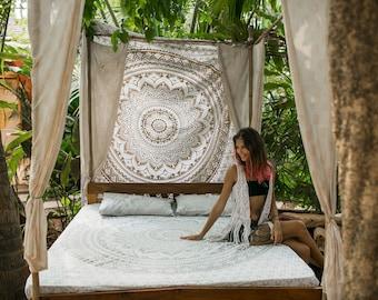 Decor for Bohemian Bedroom, Mandala Tapestry Bedding, Bohemian Bed Set, Mandala bed sheet and 2 matching pillowcases