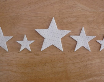 Star Set #1, Iron on Fabric Appliques x 5, Traditional fabric iron on stars, Christmas, made to order, choose your fabrics, ships from UK