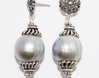 Silver Pearl And Sterling Silver Handmade Statement Earrings