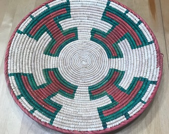 Green, Red and White Hand Woven Sea Grass Basket #337