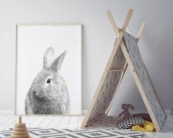 Rabbit Print, Woodlands Nursery, Rabbit Wall Decor, Baby Animal Print, Nursery prints, Woodlands animals, Bunny print, woodland Baby Shower