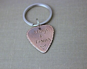 Always and Forever rustic Hand Stamped Copper Guitar Pick 18g, Romantic Gift for Boyfriend, Husband, groom wedding day gift