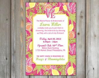 Printable Bridal Shower Invitation - Lily Pulitzer, Philadelphia