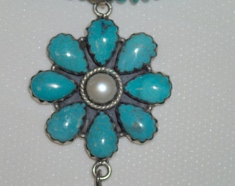 Beautiful Smooth Rondell Turquoise Necklace with Turquoise and pearl flower pendant in sterling.