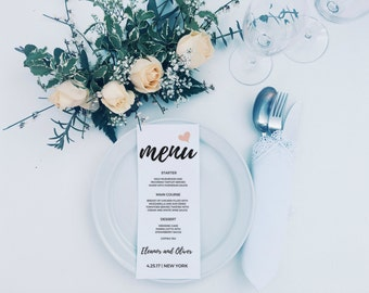 Rustic Wedding Menu, Wedding Menu template, Printable Menu, Wedding Menu Printable Template, Menu Cards, Wedding Menu Printable Template,