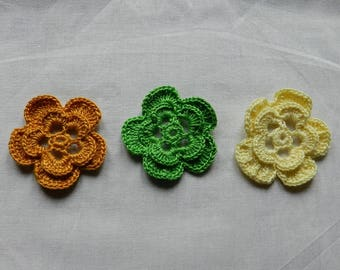set of 3 flowers 4.5 cm mustard/yellow/green scrapbooking/customization