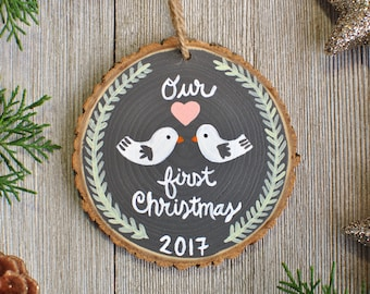 Our First Christmas Ornament, Newlywed Ornament, Personalized Gift for Couple, Just Married Ornament, Couple Ornament, Rustic Wedding Gift,