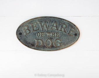 Cast Iron Beware of the Dog Sign Cast Iron Old Fashioned Beware Of The Dog Wall Mount Puppy Sign Distressed Shabby Metal Wall Decor Dog Sign