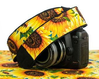 Sunflower Camera Strap, dSLR, Yellow, Flower, SLR, Pocket, Camera Neck Strap, Universal, Canon, Nikon, Sony, Pentax, Olympus, 307