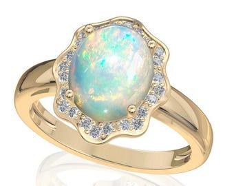 10x8mm Australian Black Opal Ring w/ 0.16ct Diamond in 14K or 18K Gold 1.91TCW Sku: R2430