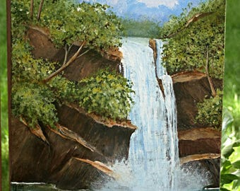 Scenic Waterfall and Ducks 24 x 12 inch Acrylic Painting