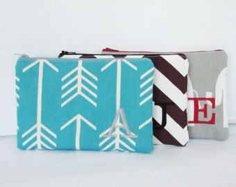 Set of 3 - Toiletry Bags - Wallet - Monogram Makeup bag - Personalized Cosmetic Bag - Bridesmaid Purse - Zipper Pouch - Medium