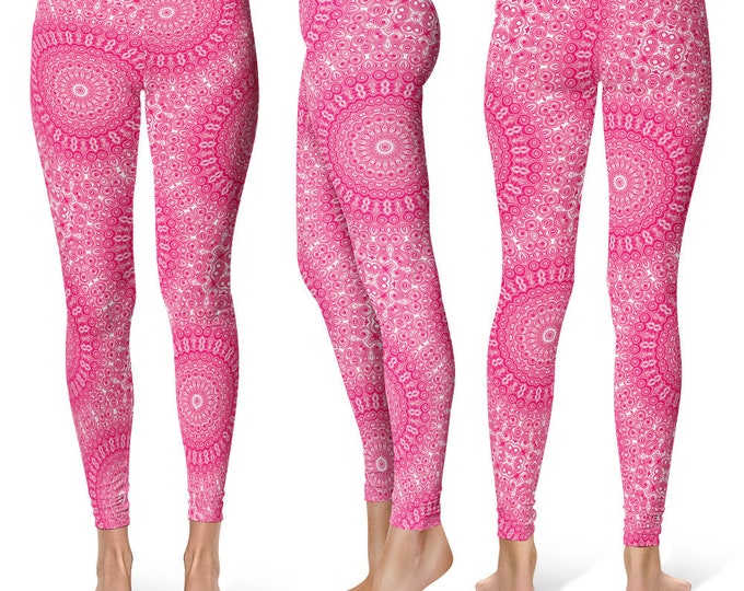 Ruby Leggings Yoga Pants, Printed Yoga Tights for Women, Pink and White Mandala Pattern