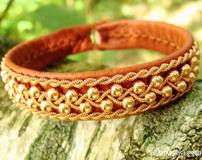 Viking Sami Bracelet, ROSKVA Copper beads in Copper braid on silksoft Bark tanned Reindeer Leather