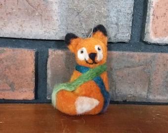Fox Christmas Ornament Needle Felted