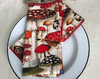 Mushroom Cloth Napkin Set Red edging, Set of 2, Nature, Foodie, Woodland, Cotton Sustainable Made in Brooklyn, Magic Alice, Digital print
