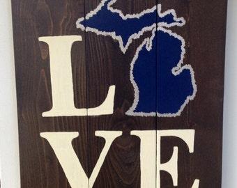 LOVE Michigan Wooden Sign