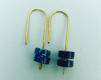 Simply Brass And Jasper Hoop Earrings,wire earrings,hammered brass earrings,Bohemian earrings
