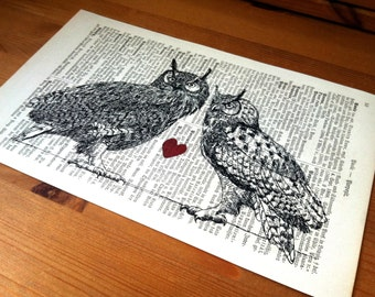 Love Owls Valentine Wedding Engagement Anniversary Gift Personalized Art Print on Antique 1896 Dictionary Book Page